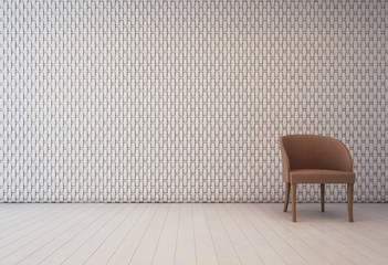 Wall Mural - White interior with wall decoration pattern and armchair - 3d rendering