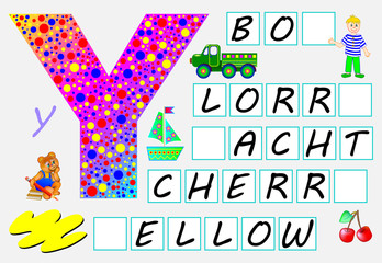 Educational page for children with letter Y for study English. Need to write the letters in the empty squares. Developing skills for writing and reading. Vector image.