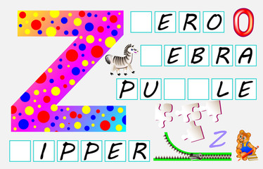Educational page for children with letter Z for study English. Need to write the letters in the empty squares. Developing skills for writing and reading. Vector image.