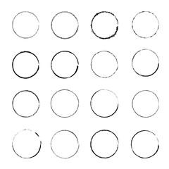 Set of Grunge Circle Stains. vector illustration.