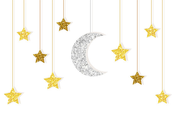 Cute glitter gold and silver moon and stars hanging on strings for your decoration