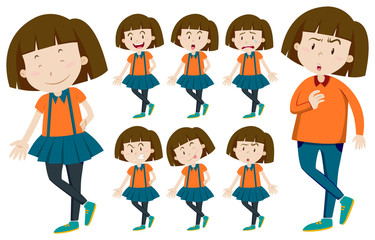 Girl with short hair in different actions