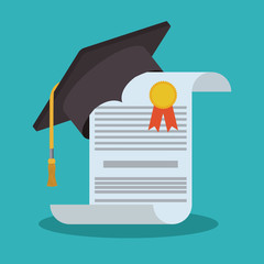 Graduation cap and diploma icon. University school and education theme. Blue background design. Vector illustration