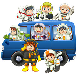 Astronauts riding on blue van