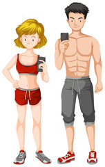 Man and woman with muscular body