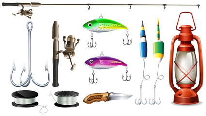 Fishing equipment with pole and hooks