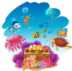 Treassure chest and sea animals underwater