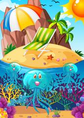 Ocean scene with jellyfish underwater