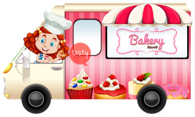 Bakery truck with baker driving
