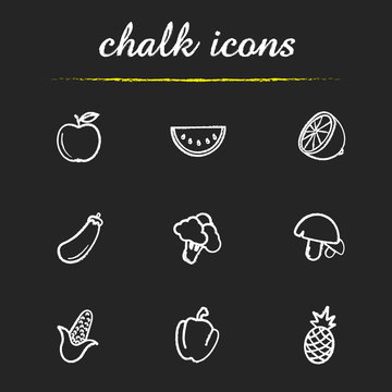 Fruit and vegetables chalk icons set