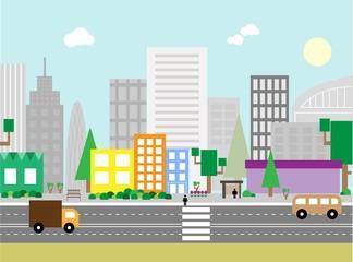 Flat design urban landscape illustration.