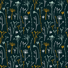 Vector seamless pattern with silhouettes of flowers and grass, hipster vector background.