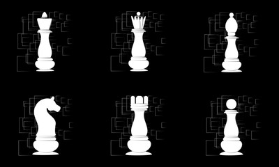 White chess pieces on black abstract background. Vector
