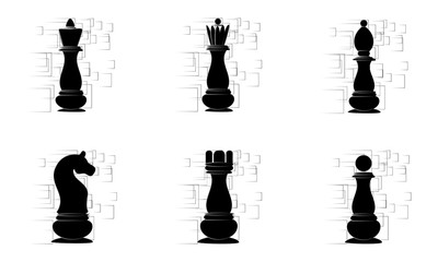 Black chess pieces on the white abstract background. Vector