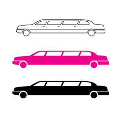Pink limousine graphic icon sign.