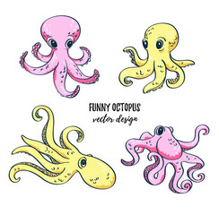 Cute cartoon octopuses set. Vector image. Underwater life. Isolated ocean design elements.