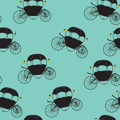 Princess Cinderella Fairytale Carriage. Seamless Pattern. Vector