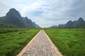Canvas Prints Hill Pathway in yangshuo