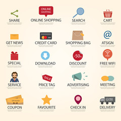 set of shopping online web icon. business icon
