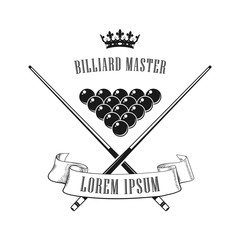 Logo for the billiard club. Sign, icon. Vintage logo for billiard club. Cue and balls.