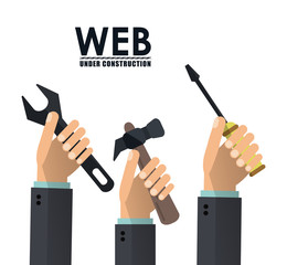 Hands wrench hammer and screwdriver icon. Under construction and repair theme. Isolated and colorful design. Vector illustration