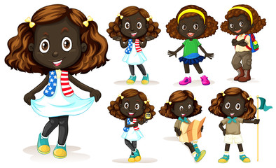 African American girl doing different activities