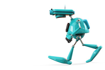 old robot happy walking side view with a plece to imput your text.72