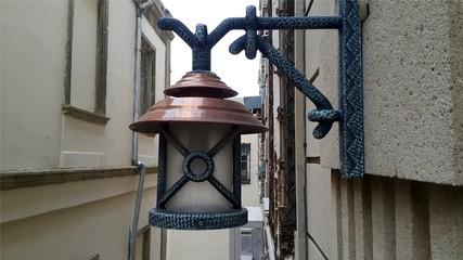 Latern lamp near house closeup photo outdoors