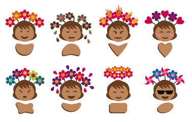 Icons of a woman showing emotions with facial expressions and flowers