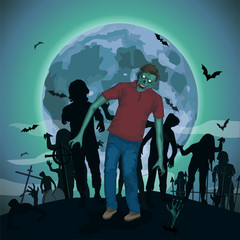 Halloween night moon zombi zombie evil spirits monster freak bea