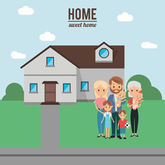 House mother father kids and grandmother icon. Home family and real estate theme. Colorful design. Vector illustration