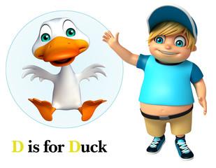Kid boy pointing Duck