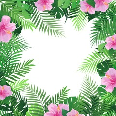 Summer tropical background with palm leaves and hibiscus flowers. Exotic wallpaper, card, poster, placard, frame.