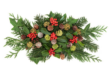 Winter Greenery and Holly Decoration