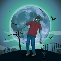 Halloween night moon zombi, zombie evil spirits monster beast sk