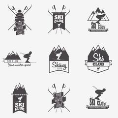 Set of ski club, Patrol Labels. Bundle of vintage mountain winter camp explorer badges. Outdoor adventure logo design.