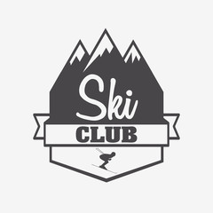 Logo, symbol or label template of ski club and snowboarding resort with skier and mountain