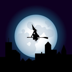 Halloween Scary Witch Flying On A Broomstick - Fool Moon - Silhouette - Vector EPS10