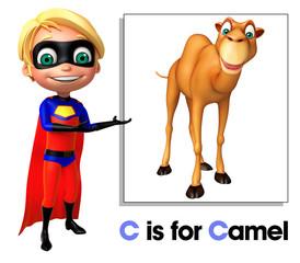 Super boy pointing camel