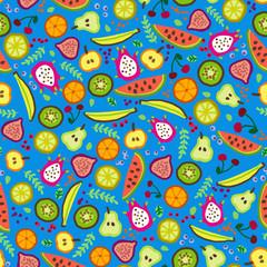 Vector pattern. Cartoon fruit illustration. Seamless background