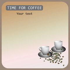 TIME FOR COFFEE. Banner design, poster with green coffee. Vector. Composition for your text