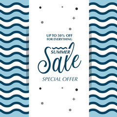 Summer sale with water wave background ,vector illustration
