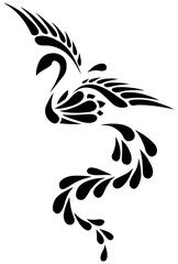 Black and White Phoenix Tribal Tattoo