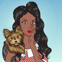 Portrait of sexy african american girl with little dog Yorkshire Terrier in the pop art style. Vector illustration of retro girl in comics style. Vintage advertising poster