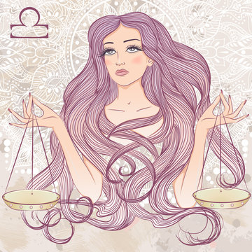 Astrological sign of Libra as a portrait of beautiful girl