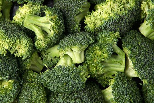Fresh green broccoli on top view