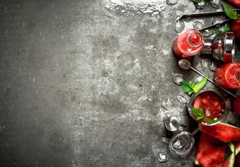 Watermelon chocktail with mint