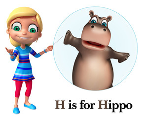 Kid girl pointing Hippo