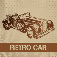 Retro car sketch for your design.