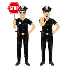 two policemen holding stop sign and showing stop gesture